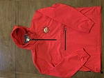 1/4 Zip Embroidered Logo Red Hooded Wind Jacket